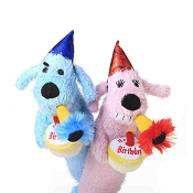 Multipet Loofa Birthday Squeaky Plush Dog Toy, Color Varies, 12""